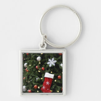 North America. Christmas decorations on tree. 5 Silver-Colored Square Key Ring