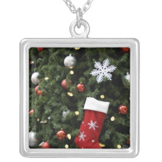 North America. Christmas decorations on tree. 5 Silver Plated Necklace