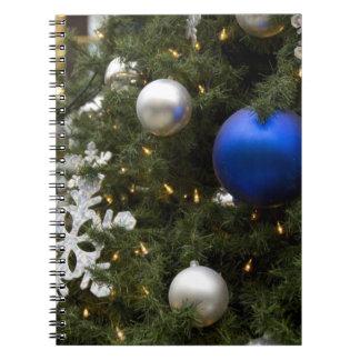 North America. Christmas decorations on tree. Notebooks