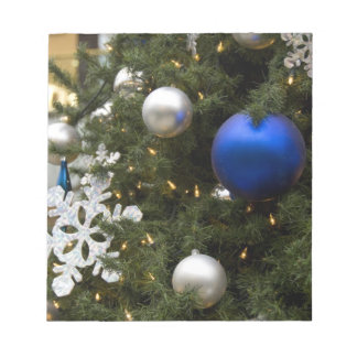 North America. Christmas decorations on tree. Notepad
