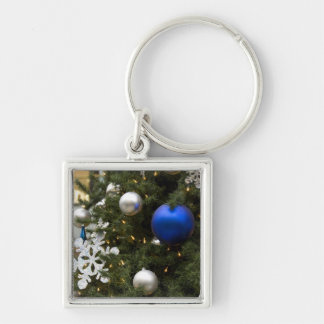North America. Christmas decorations on tree. Silver-Colored Square Key Ring