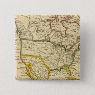 North America Engraved map 15 Cm Square Badge