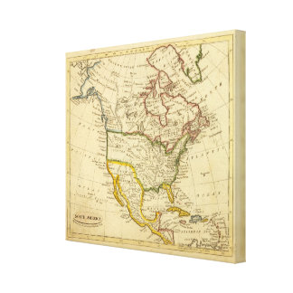 North America Engraved map Stretched Canvas Print