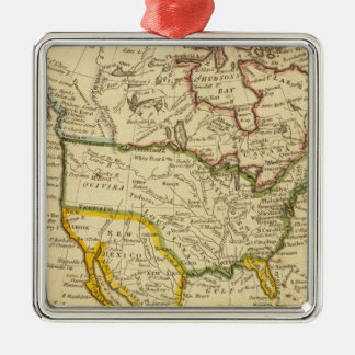 North America Engraved map Silver-Colored Square Decoration