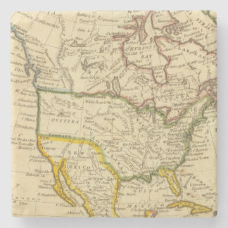 North America Engraved map Stone Coaster