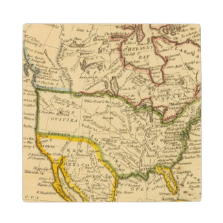 North America Engraved map Wood Coaster