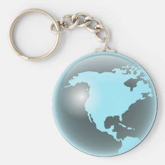 North America Glass Globe Key Ring