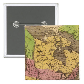 North America Hand Colored Atlas Map 15 Cm Square Badge