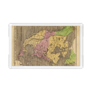 North America Hand Colored Atlas Map Acrylic Tray