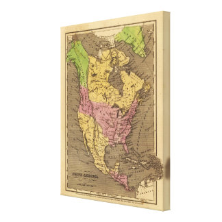 North America Hand Colored Atlas Map Canvas Prints