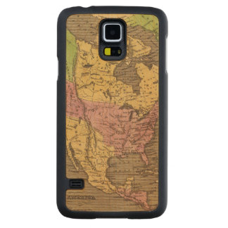 North America Hand Colored Atlas Map Carved Maple Galaxy S5 Case