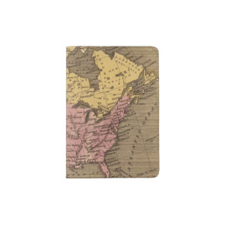 North America Hand Colored Atlas Map Passport Holder