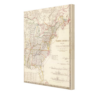 North America index map Gallery Wrapped Canvas