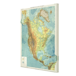 North America Map 2 Gallery Wrapped Canvas