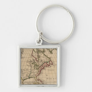 North America map 2 Silver-Colored Square Key Ring