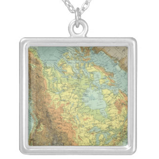 North America Map 2 Silver Plated Necklace