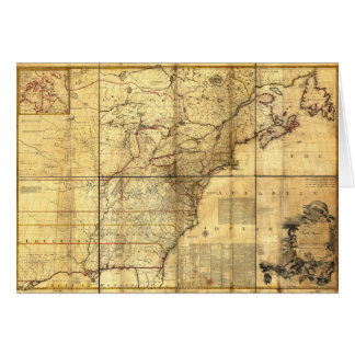 North America Map British & French Dominions 1757 Greeting Card