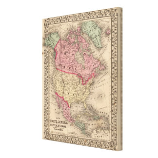 North America Map by Mitchell Stretched Canvas Print