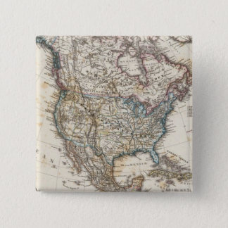 North America Map by Stieler 15 Cm Square Badge