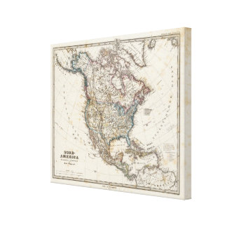 North America Map by Stieler Canvas Print