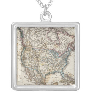 North America Map by Stieler Silver Plated Necklace
