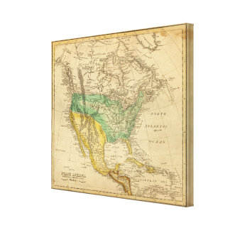 North America Map by Worcester Stretched Canvas Prints