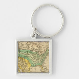 North America Map by Worcester Silver-Colored Square Key Ring