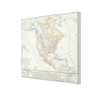 North America Map Gallery Wrap Canvas
