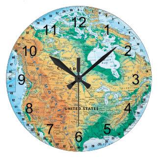 North America Map Large Clock