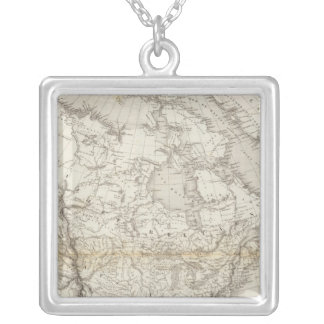 North America Map Silver Plated Necklace