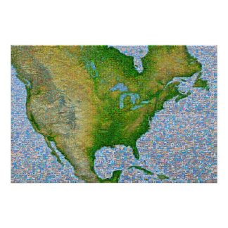 North America Mosaic Poster