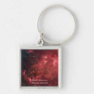 North America Nebula Infrared Silver-Colored Square Key Ring