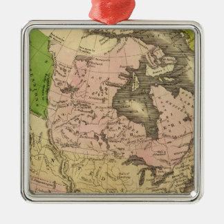 North America Olney Map Silver-Colored Square Decoration