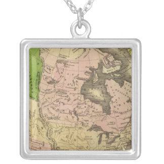 North America Olney Map Silver Plated Necklace