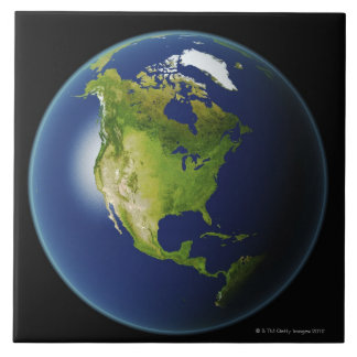 North America Seen from Space 2 Tile