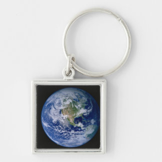North America Seen from Space Silver-Colored Square Key Ring
