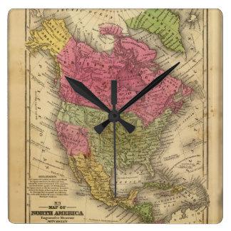 North America. Square Wall Clock