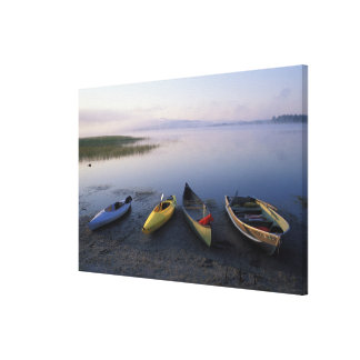 North America, US, ME, Boats on the shore of Canvas Print