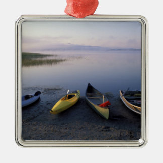 North America, US, ME, Boats on the shore of Christmas Ornament