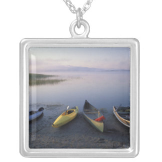 North America, US, ME, Boats on the shore of Silver Plated Necklace
