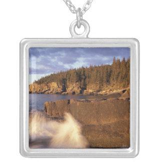 North America, US, ME, The rocky Maine coast. Square Pendant Necklace
