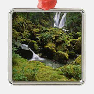 North America, USA, Alaska. A waterfall and Christmas Ornament