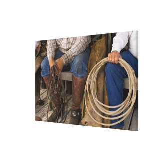 North America, USA. Cowboys relaxing and 2 Stretched Canvas Prints