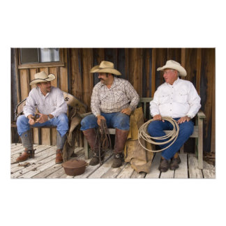North America, USA. Cowboys relaxing and Photo Print