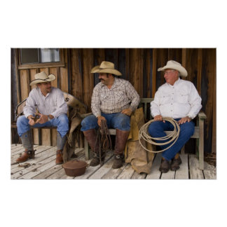 North America, USA. Cowboys relaxing and Poster