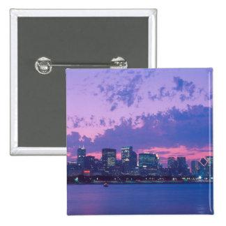 North America, USA, IL. Chicago skyline at dusk 15 Cm Square Badge