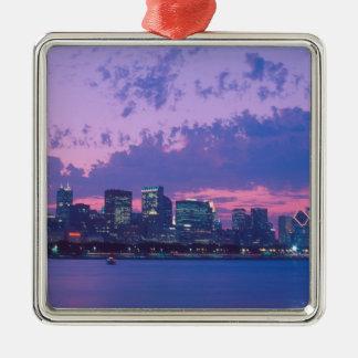 North America, USA, IL. Chicago skyline at dusk Christmas Ornament