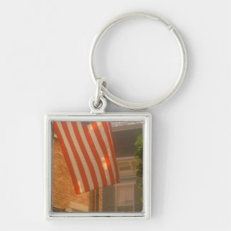 North America, USA, Massachusetts, Nantucket 2 Silver-Colored Square Key Ring