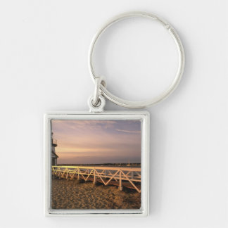North America, USA, Massachusetts, Nantucket 3 Silver-Colored Square Key Ring
