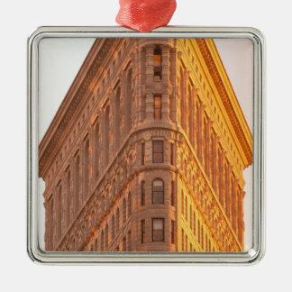 North America, USA, New York, New York City. 5 Silver-Colored Square Decoration